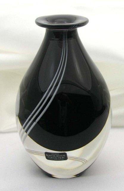 Rare KOSTA BODA Art Glass Vase Artist Signed TINBACK