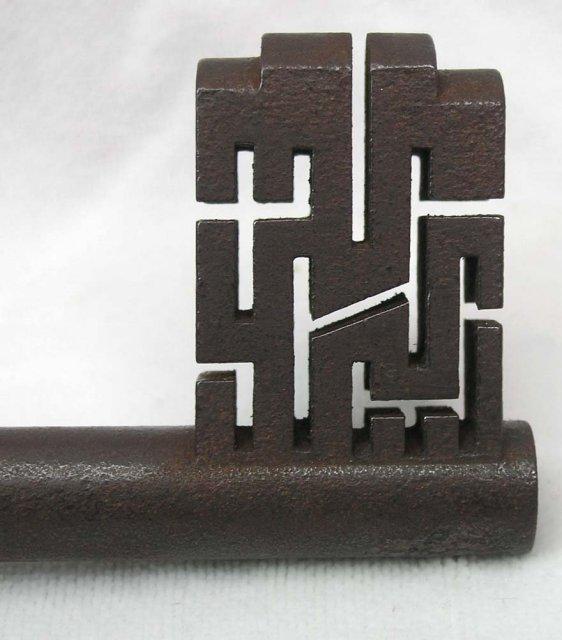 RARE Antique Warded Safe Lock Key Maze Design UNIQUE