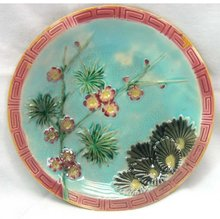 1880's WEDGWOOD MAJOLICA Turquoise Plate