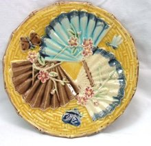 Antique MAJOLICA Plate with 3 Fans Butterfly