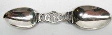 Antique Sterling Silver Folding Medicine Spoon w/ Case