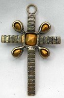 Antique Victorian Black SMOKY TOPAZ  Cross