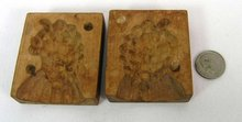 Antique Wood 2 Pc. Candy Mold Grapes Made In Germany
