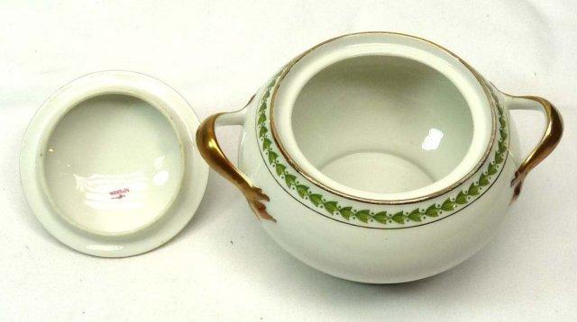 T & V LIMOGES Pattern 5856 2 Handled Covered Sugar Bowl
