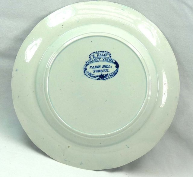 Dark Blue R. HALL'S Select Views PAINS HILL  Plate Transferware