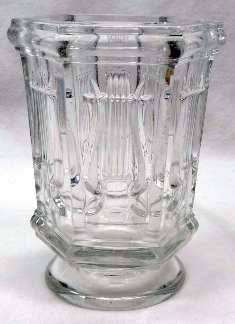 BOSTON & SANDWICH Glass Lyre Harp Spill Spooner FLINT