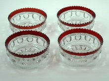 4 ADAMS Ruby Stained KINGS CROWN Berry Bowls c 1880
