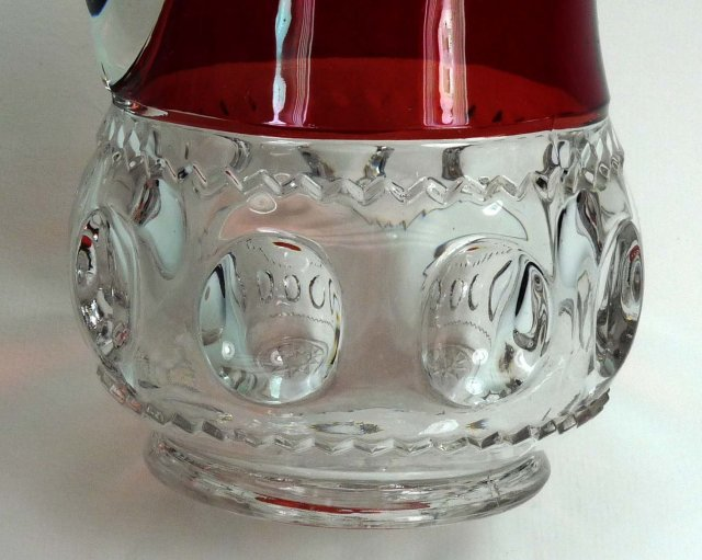 ADAMS Ruby Stained KINGS CROWN TANKARD PITCHER c 1880