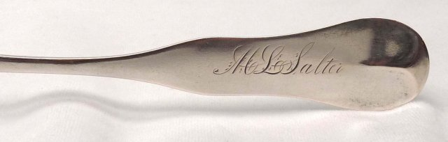 J. H. CLARK NY Coin Silver Large Spoon c. 1815