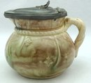 Old MAJOLICA Pewter Lid Syrup Pitcher w/ Pink Interior