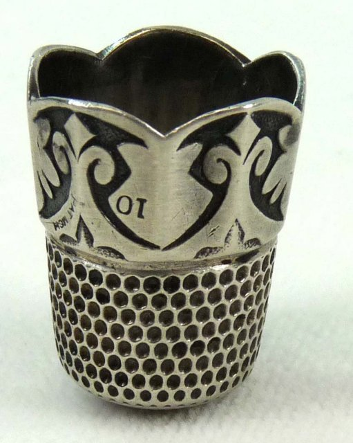 ORNATE Hallmarked STERLING SILVER Thimble Pat. 1891