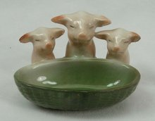 Old German Porcelain 3 PINK PIGS w/ Green Basket