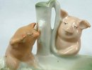 Old German 2 PINK PIGS Soap Dish HAMPTON COURT Souvenir