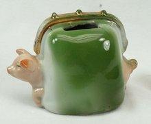 Old German Porcelain  PINK PIG Purse Coin Bank