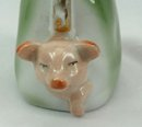 Old German Porcelain  PINK PIG Purse Coin Bank