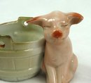 Old German 2 PINK PIGS Bucket Toothpick Match Holder