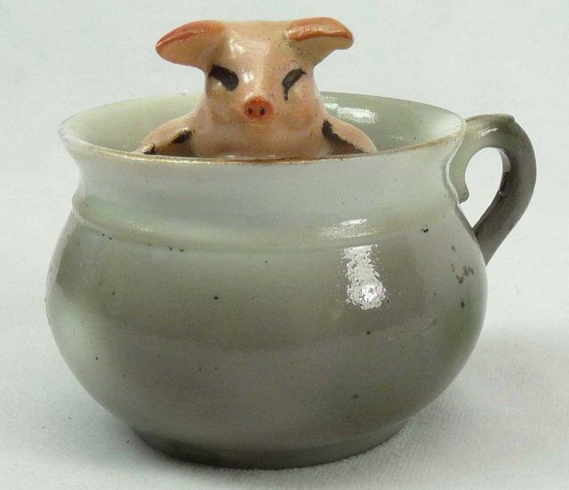 Old German Porcelain PINK PIG in Green Teacup