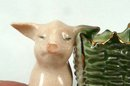 Old German Porcelain PINK PIG in Green Basket Toothpick