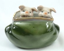Old German Porcelain 2 PINK PIGS Peeking Green Purse