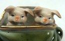 Old German Porcelain 2 PINK PIGS Peeking Green Purse