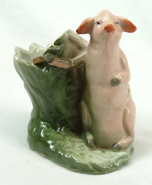 Old German Porcelain PINK PIG Toothpick Holder w/ Face