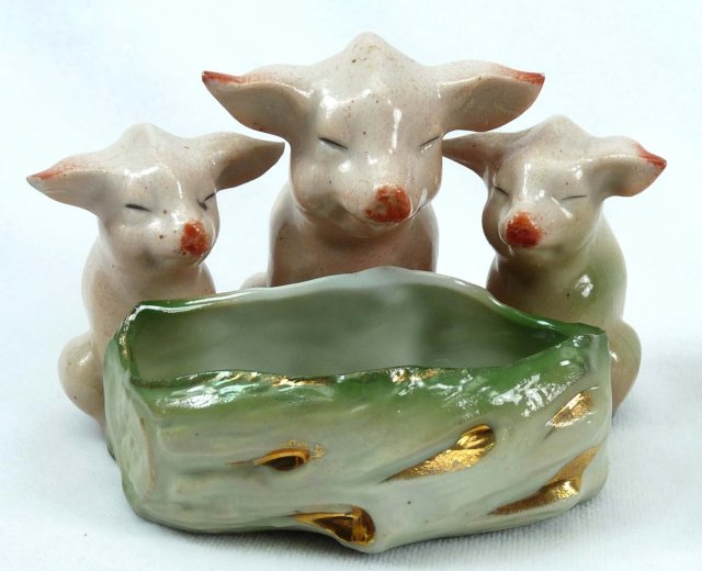 Old German Porcelain 3 PINK PIGS Trough Open Salt