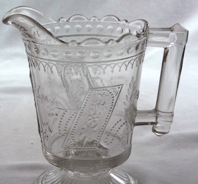 EAPG GOOD LUCK Horseshoe Pattern Glass Creamer