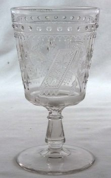 EAPG GOOD LUCK Horseshoe Pattern Glass Goblet