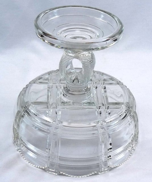 EAPG Duncan & Sons ZIPPER BLOCK CRYPTIC Compote c. 1887