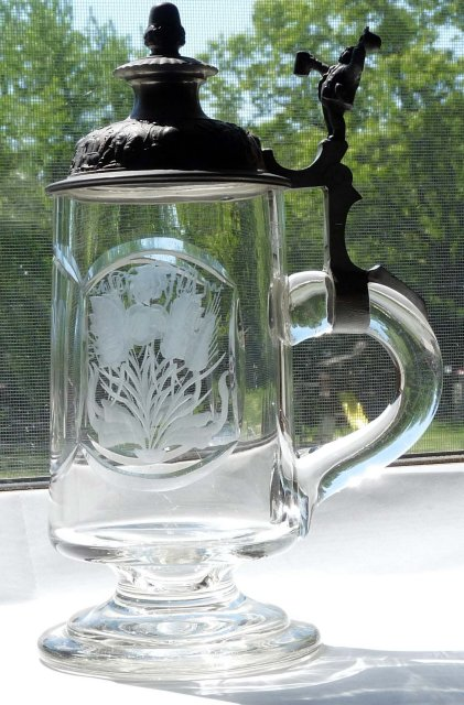 Antique Pewter Liddded Cut & Etched Glass Beer Stein