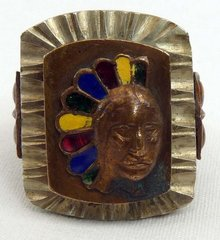 Vintage Mexican Souvenir Indian Head Ring Enamel Headdress
