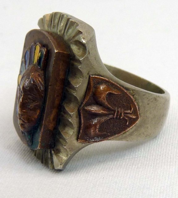 Vintage Mexican Souvenir Indian Head Ring Enamel Headdress