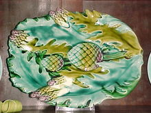 ANTIQUE FRENCH MAJOLICA ASPARAGUS PLATTER