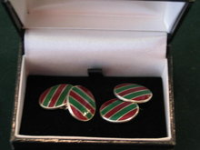 STERLING AND ENAMEL STRIPED CUFFLINKS