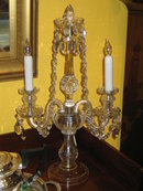 PR OF CRYSTAL CANDELABRA LAMPS