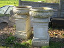 FABULOUS PAIR OF BLASHFIELDS ENGLISH BLONDE TERRACOTTA URNS ON PLINTHS