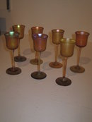 TIFFANY FAVRILE GLASS  LIQUER/CORDIAL STEMS