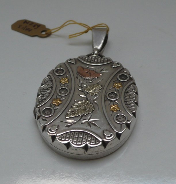 Victorian Sterling Silver Locket Gold Overlay