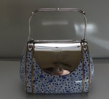 Fabulous Silver Plate/China Pocket Book Biscuit Box