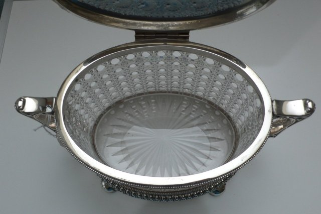 Vctorian Silver Plate and Cut Glass Biscuit Box