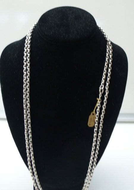 Victorian Sterling Long Guard Chain Necklace