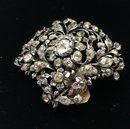 Victorian Sterling Paste Flower Brooch