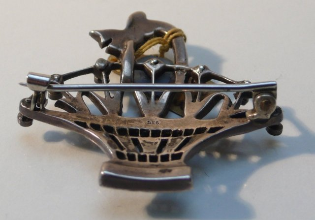 Marcasite and Sterling Basket Brooch
