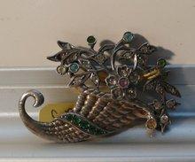 Sterling silver Cornucopia brooch
