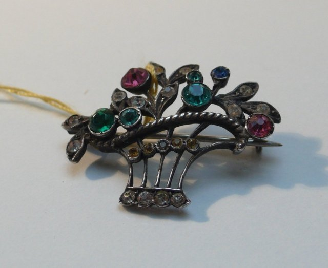 Sterling silver Basket  brooch