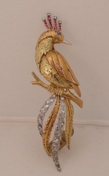 Fabulous 18 Kt. Diamond and Ruby Bird Brooch