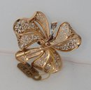 18 Kt. French Gold & Diamond Ribbon Bow Brooch