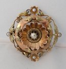 French 18 Kt rose gold & pearl brooch