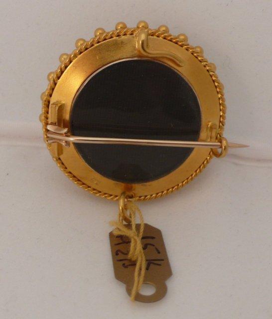 Victorian 15 KT. Gold, Enamel, Banded Agate Brooch