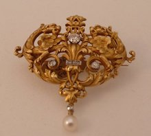 18 Kt. French gold and diamond serpent brooch